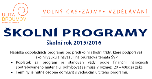 Školní programy pro školní rok 2015 – 2016